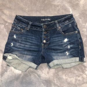 Maurices Dark Denim Ripped Buttoned Jean Shorts